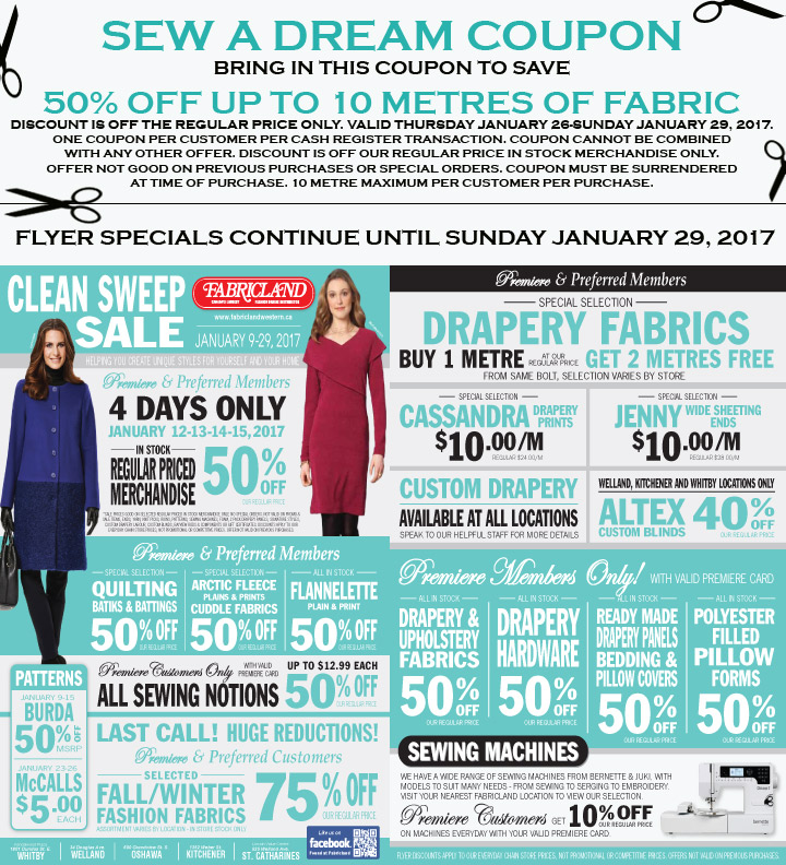 Fabricland sale Sew a Dream and Flyer January 2017 now on. Call your nearest location for more details.