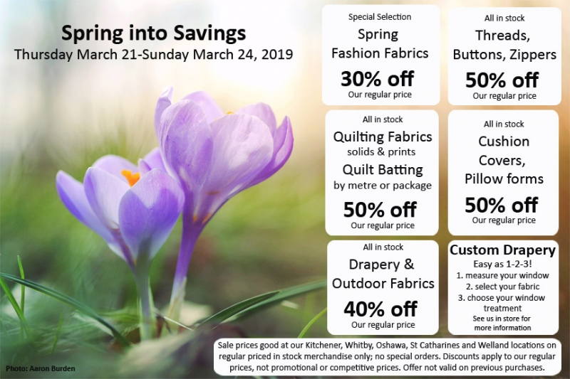 Fabricland sale Spring into savings March 2019 now on. Call your nearest location for more details.