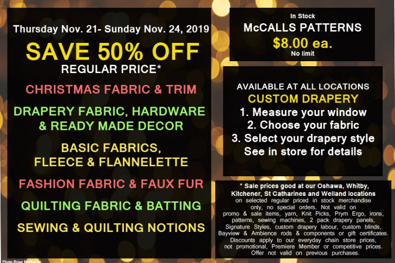Fabricland sale 50% off Sale November 2019 now on. Call your nearest location for more details.